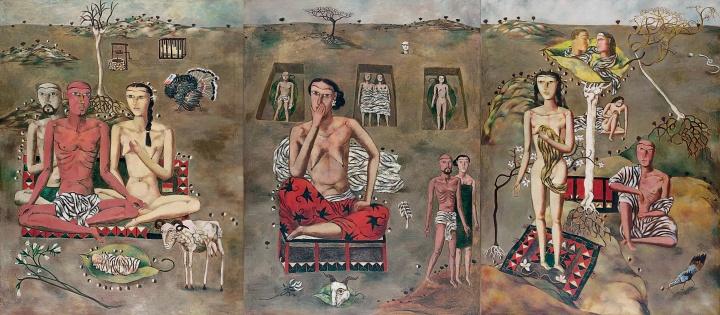 《生生息息之爱》130x100cmx3三联布面油画1988