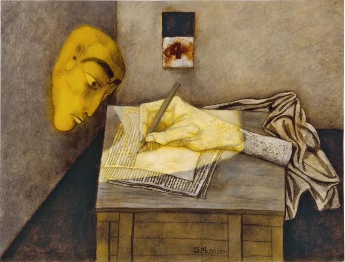 《一周手记之四》39×52cm纸本油画1991