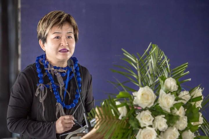 2015年,第三届民营美术馆论坛上的谢素贞
