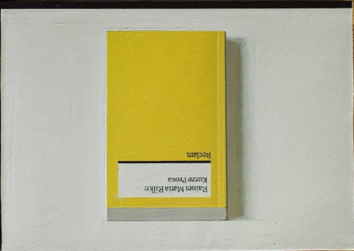 刘野《Book Painting No.9 (Rainer Maria Rilke, Kurze Prosa. Reclam, 2012)》 布上丙烯 21 x 30 cm 2015