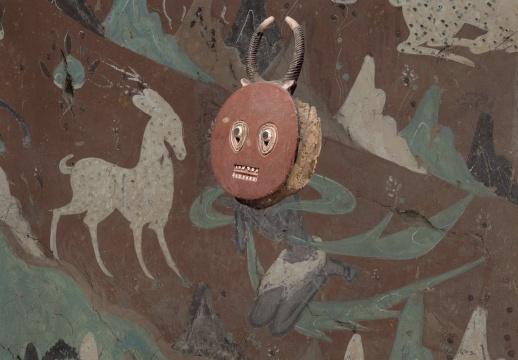 徐震® 《进化—莫高窟257窟主室西壁》普尔面具布上油画 140 ×200 cm 2017-2018