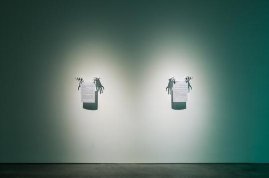 陆平原,《爱情考古-1》、《洞穴革命》打印纸张,玻璃钢,工业漆,50 x 38 x 12cm,2018