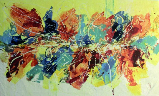 Dancing Colors, Acrylic on canvas, 70 x 115cm, 2006, Eva Watzl