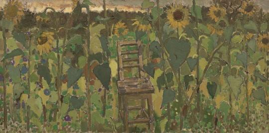 《黄昏中的向日葵和靠背椅 之一》 50×100cm 布面油画 2017.10.01-02