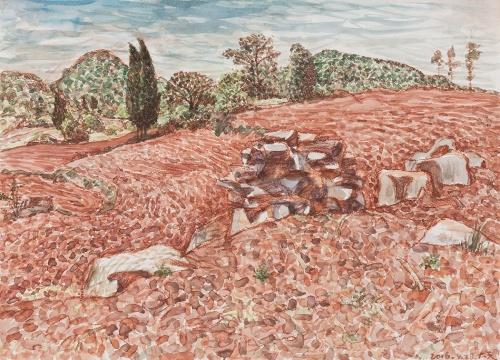 《春耕中的红土地》 38x53cm 纸本色粉、水彩 2016.04