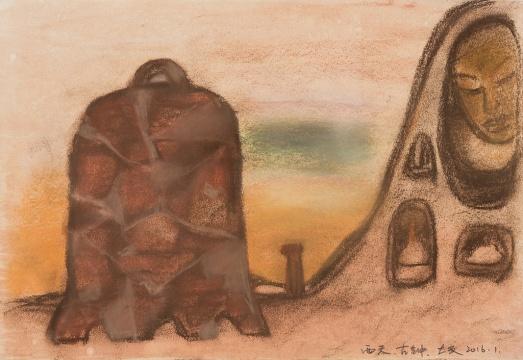 《西天·古钟》 26.5x38cm 纸本色粉、水彩 2016.01