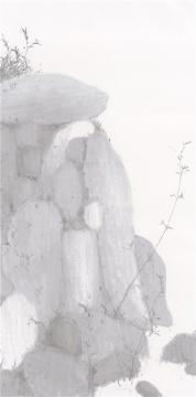 《天池竹石之一》248×122 水墨宣纸 2017