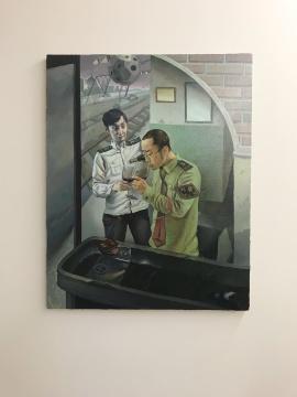 王一凡《我与洁夫》100×80cm 布面油画  2018