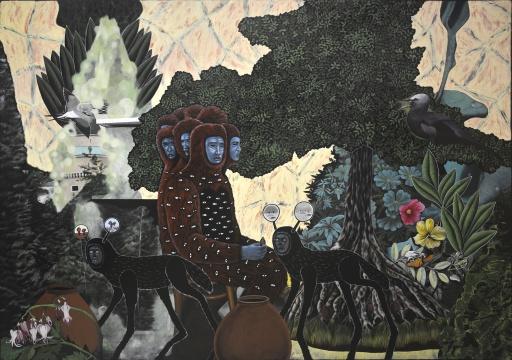 《八头怪兽与生命之树》244x335cm布面丙烯2018