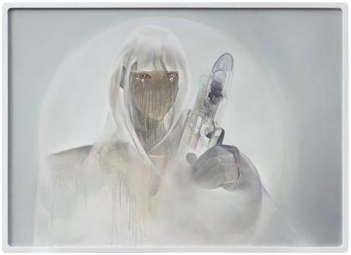 宋琨 《赛博格躯体-Cosplay自画像》90 x 125 cm布面油画,透明材料2017