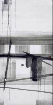 《无题-作品48-87》宣纸、水墨 137x68cm 1987