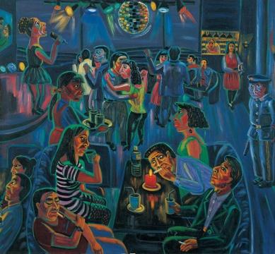 陈曦,《歌舞厅》,布面油画,180x165cm,1993