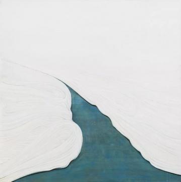 尹朝辉《潮之三》160x160cm布面油画、墨 2018