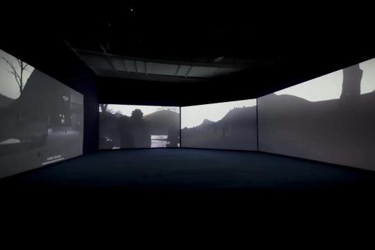 曹澍《公园一角》15米x8米 空间 5通道CGI影像装置 2018