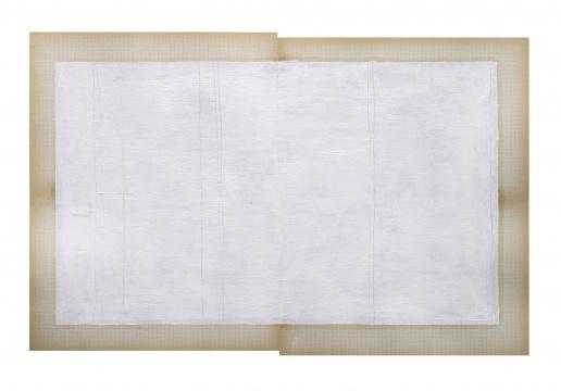 李昶《旧秩序,新秩序》水彩纸,古董笔记本白页,油彩和铅笔 48×65cm 2018