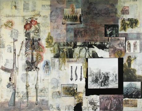 二等奖获得者朱湘作品《图像日志·幽灵的枪》 140x110cm图像丙烯、图像(书籍)拼贴 、油漆笔 2018
