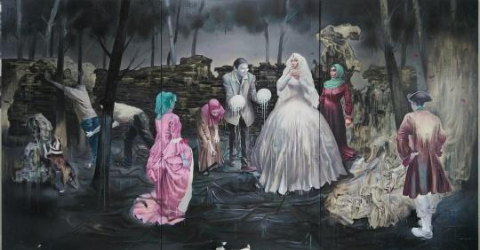 三等奖获得者王雷的布面油画作品《关于婚姻》