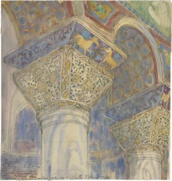 《拜占庭教堂内部》 纸面蜡笔和水彩 1970(图片来自苏州美术馆)