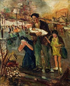 常书鸿《重庆大轰炸布面油彩》79x63.8cm 1938-1942