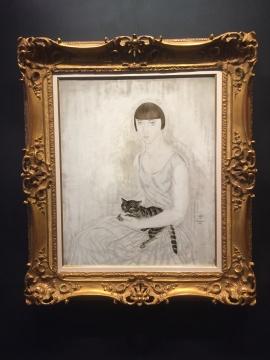 藤田嗣治 《女孩与猫》 72.8×60cm 油画画布 1962  估价:350万-550万港元