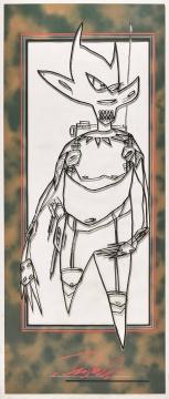 Futura 《无题(Pointman)》 217×96cm 油性笔、水墨及喷漆亚克力板估价:8万-12万港元