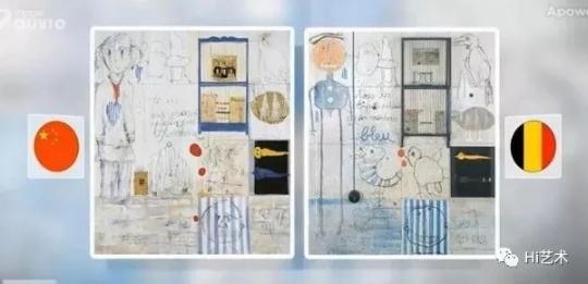媒体RTBF的报道,左:叶永青的作品;右:比利时艺术家西尔万的作品