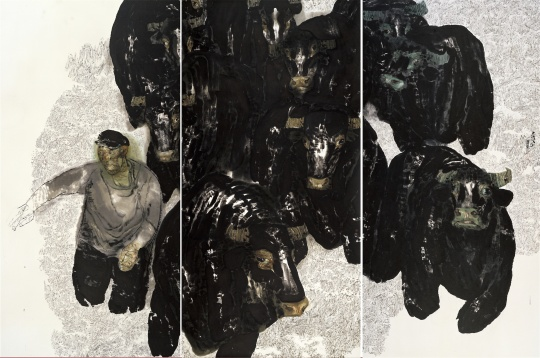 袁武 《黄昏、老头让牛群跑起来》 纸本水墨设色 320×480cm 2010