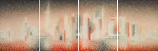 王舒野 《上海浦东的时空裸体・即114》 233.7×694cm 麻纸、墨、朱墨 2018