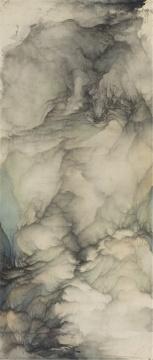 吴强 《云壑》175×74cm 绢本水墨设色 2017