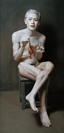 石冲 《欣慰中的年轻人》152×74cm布面油画1995©️泰康收藏