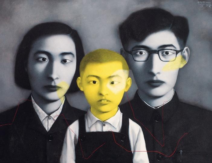 张晓刚 《血缘——大家庭:全家福》100×130cm布面油画1995©️泰康收藏