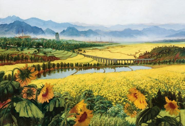吴作人《战地黄花分外香》119×176cm布面油画1977©️泰康收藏