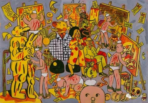 烟囱 《艺术圈》 27×39cm 纸上丙烯 2015(作品经烟囱授权发布)
