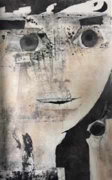 张望《 黑眸》,纸本水墨,100x68cm,1990年