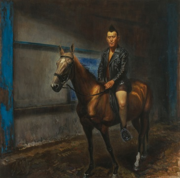 齐星《马背上的朋克》250×250cm 布面油画 2017