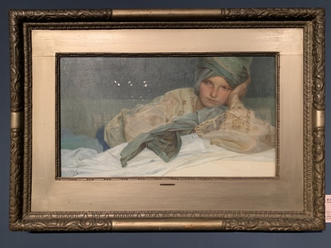 《过着头巾躺着思考的姑娘》 油画颜料、帆布 1926  捷克共和国布拉格是艺术博物馆藏