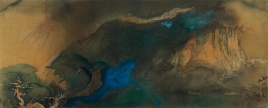 张大千 《溪桥晚色》66cm×165cm 绢本设色 1970©和美术馆