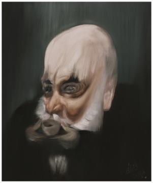 《喝铁罗汉的Massimo De Carlo》 50×60 cm 布面油画 2018