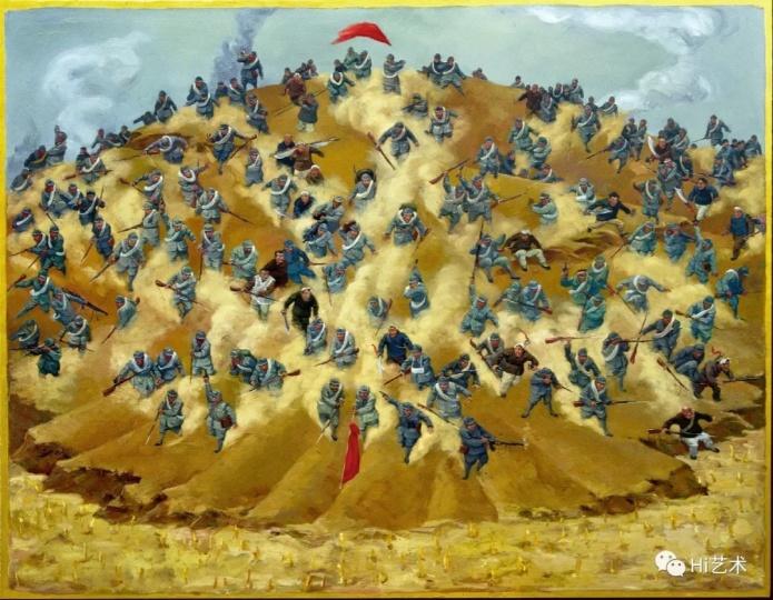 《我想象中的战斗》195×250cm布面油画2009