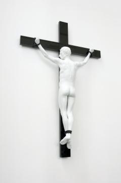 艾尔葛林 & 德拉葛赛特《反向耶稣受难像》254x168x40cm 着色铜像、高光漆不锈钢十字架 2016