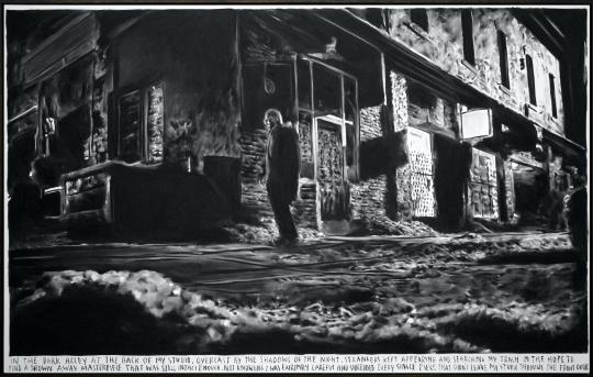 里纳斯·凡·德·维尔德 《在我工作室后面的黑暗小巷里》 175x280cm 布面碳笔 2017