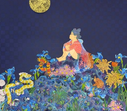 刘天怜 《赏月》 85×95cm 绢本设色 2019