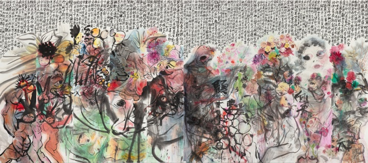 《春天花会开》230×520cm纸本设色2020