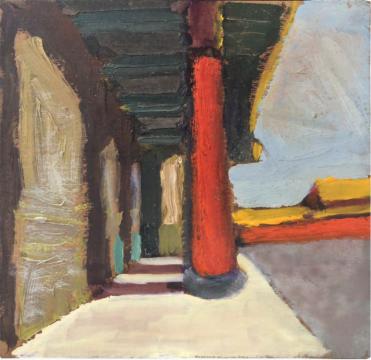 周迈由 《故宫》 18.8×19.2cm 纸本油画 1970