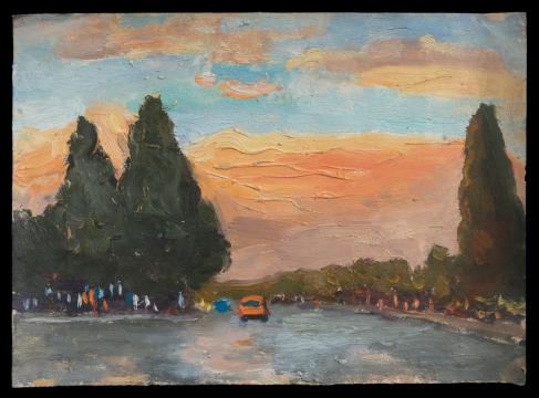 周迈由 《香山路》 27.2×19.8cm 纸本油画 1970