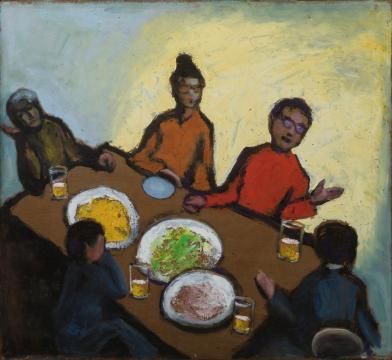 周迈由 《夜谈》89×81cm 布面油画 2009