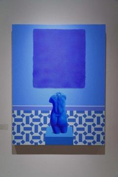 房培鑫 《艺术景观-克莱因蓝》 2020 布面丙烯&综合材料 130×100cm