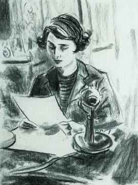 《伊丽莎白公主的第一次广播讲话》 纸上炭笔 35.6 × 27.9 cm 1993