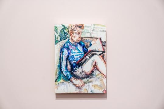 《拉斐尔(阅读中的尼克)》 板上油彩 48.3x 35.8cm 2018