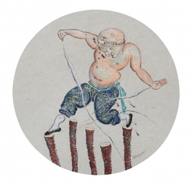 《梅花桩》52×52㎝ 纸本色粉 2015
